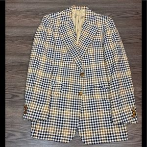 Bill Blass White, Navy & Gold Plaid Sport Coat 42L